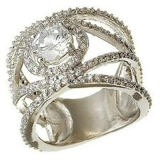14K WHITE VERMEIL Pave Encrusted Double X Halo Wide CZ Engagement Ring-925/SS-