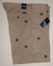 NEW MENS CHAPS EMBROIDERED NAUTICAL COMPASS TAN SHORTS 34 36 38 40 42
