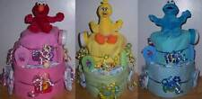 Baby Shower 2 Tier Sesame Street Diaper Cake, Elmo, cookie Monster, Big Bird
