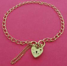 9CT SOLID GOLD LADIES CHILDRENS CURB LINK CHARM BRACELETS HEART PADLOCK CHARMS