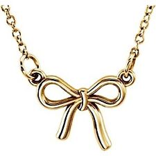 """Tiny Posh Petite 14kt Rose,Yellow or White Gold ~BOW~ Necklace 18"""" Chain"""