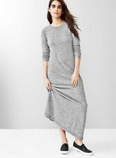 NEW WOMENS XS S ST GAP LONGSLEEVE HEATHER GRAY MAXI FULL LENGTH DRESS NWT