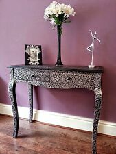 Marrakesh Style Dressing Vanity Table Black Silver Embossed Wood Console Tables