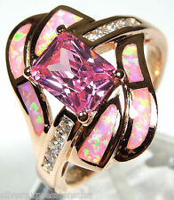 Rose Gold Plated Pink Topaz & Pink Fire Opal Inlay 925 Sterling Silver Ring 5-9