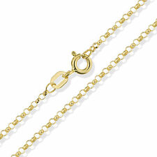 """9CT SOLID YELLOW GOLD 16"""" 18"""" 20"""" ROUND ROLO BELCHER CHAIN LINK PENDANT NECKLACE"""