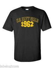 U.S. NAVY SEALS 1962-BLACK- T-SHIRT-NEW-ALL SIZES AVAIL. MILITARY SPECIAL FORCES