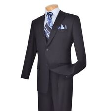 NEW! BUSINESS SUITS CLASSIC FIT 2 BUTTONS DESIGN PURE SOLID NAVY SUIT 2TR
