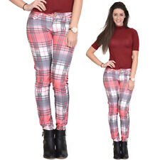 Coral Tartan Checked Plaid Skinny Slim Fitted Stretch Pants Punk Trousers Jeans