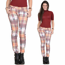 Orange Tartan Checked Plaid Skinny Slim Fitted Stretch Pants Punk Trousers Jeans