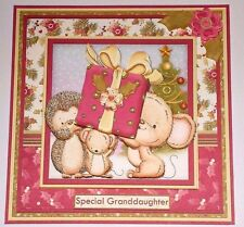 Handmade Greeting Card 3D Christmas With A Hedgehog And Mice