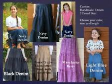 Girl long full tiered denim skirt modest blue jean khaki brown XS S M L