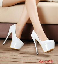 Womens Ladies 15cm High heels patent leather Stiletto Platform Pumps Shoes Sexy