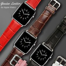 New Crocodile Genuine Leather Watch Strap Band Adapter for Apple Watch 38mm 42mm