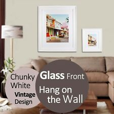 Multi Size Options Chunky Vintage White Photo Frame Hanging Wall Home Decoration