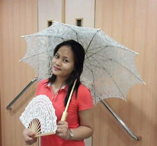 Handmade Adult Batten Lace Parasol & Fan Set Wedding Dance Prom Party Decoration