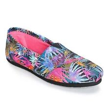 NEW IN BOX WOMENS 6 TOMS BLACK MULTI CANVAS PRINTED PALMS CLASSIC SLIP ON SHOES