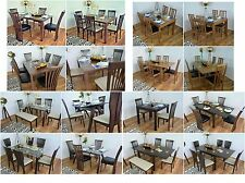 New Quality Solid Wooden Dining Table and Chairs 4/6 Dining Chair Set Extending