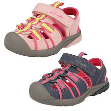 GIRLS CLARKS BEACH TIDE CASUAL VELCRO FASTENING CLOSED TOE BEACH SANDALS SHOES