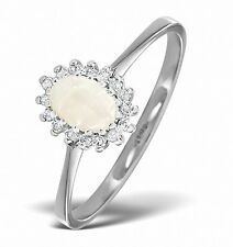 Opal Ring Opal and Diamond Ring White Gold Engagement Ring Cluster Size F - Z