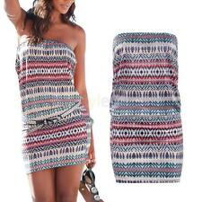 Summer Charm Geometry Bohemia Striped Sexy Strapless Package Hip Slim Dress