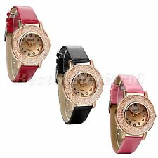 Luxury Women Dress Watches PU Leather Band Analog Quartz Wrist Watch Girls Gift