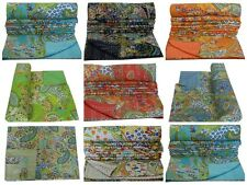 Indian Reversible Paisley Twin Size Kantha Bedspread Ethnic Throw Kantha Quilt