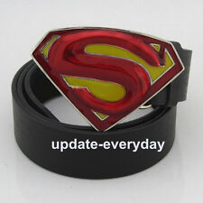 Western New 3D Red Yellow Leather Mens Superhero Superman Metal Belt Buckle Gift