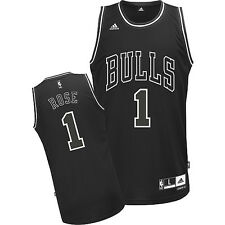 Chicago Bulls Derrick Rose Revolution 30 Swingman Black and White Jersey