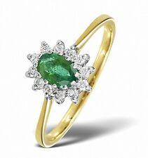 9K Yellow Gold 0.18ct Diamond & 6 x 4mm Emerald Ring Size  F - Z Made in London