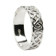 Mens Closed Celtic Knot Wedding Band Sterling Silver Irish Made