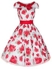 Vintage 50's English Rose Red Rockabilly Party Prom Bridesmaid Tea Dress 8 - 18