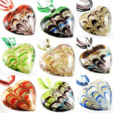 Fashion Lucency Gold Foil Lampwork Murano Art Glass Pendant Ribbon Necklace New