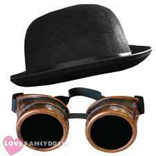 STEAMPUNK BRONZE GOGGLES + BLACK BOWLER HAT VICTORIAN SCI-FI FANCY DRESS COSTUME