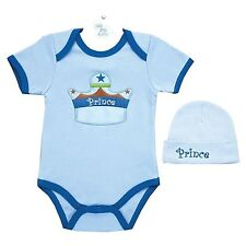 AM PM Kids Baby Boy Prince 0-6 Or 6-12 Month One Piece Romper & Hat Set