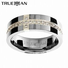 Mens Gem Set Bee Tungsten Band Trueman Carbide Mens Ring Size 8.25-13.25