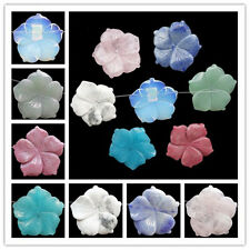 Charming Carved Mixed Gemstone Flower Pendant Bead Choose Your Like Stone ! S-37