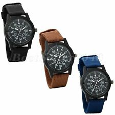 Men's Fabric Nylon Canvas Band Military Dial Date Quartz Sport Wrist Watch Boys