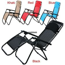 4 Colors Zero Gravity Lounge Folding Recliner Pool Chair Pillow Yard Beach RLWH