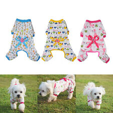 Small Pet Dogs Cartoon Bowknot Pajamas Coat Cat Puppy Clothing Clothes Jumpsuits