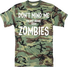 Mens Just Hiding From Zombies Funny Full Camouflage Print T shirt (Camo)
