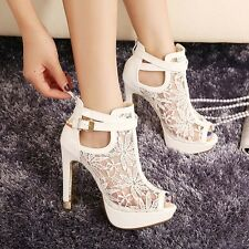 New Women Elegant High Heel Peep Toe Ankle Boot Buckled Shoes Breathable Sandals
