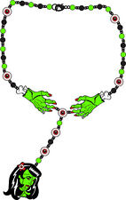 Too Fast Zombie Girl Rosary Necklace Rockabilly Gothic Punk Tattoo Pinup Horror