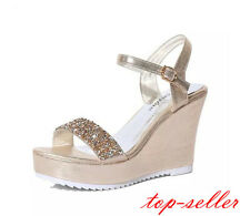 Women Lady Shinny Sequins Peep Toe Ankle Strap Wedge Heels Platform Sandal Shoes