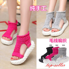 Hot Women's Casual Summer Platforms Woven Open Toe Creepers Sandals Shoes Size