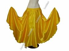 Belly Dance Yellow Satin Full Circle Skirt Costume Tribal Elastic Jupe 27 Colors