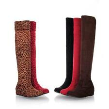 Womens Wedge Heels Faux Suede Pull On Legging Slouch Over the Knee Riding Boots