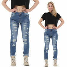 New Womens Blue Faded Slim Ripped Distressed Frayed Boyfriend Je