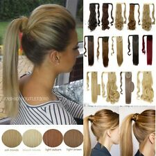 Real Thick Piece Clip In Ponytail Hair Extensions One Piece Straight Curly ssf