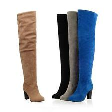 Europe Womens lady faux suede zipper block thigh high heel over the knee boots
