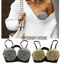 br1 CFLB Punk Metallic Events Clothing Padded Studded Bra Spike Crop Top